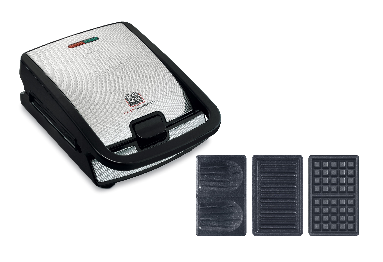 TEFAL-Snack-collection-Sandwich-maker-waffle-maker-700-W-black-stainle-SW852D miniatura 2