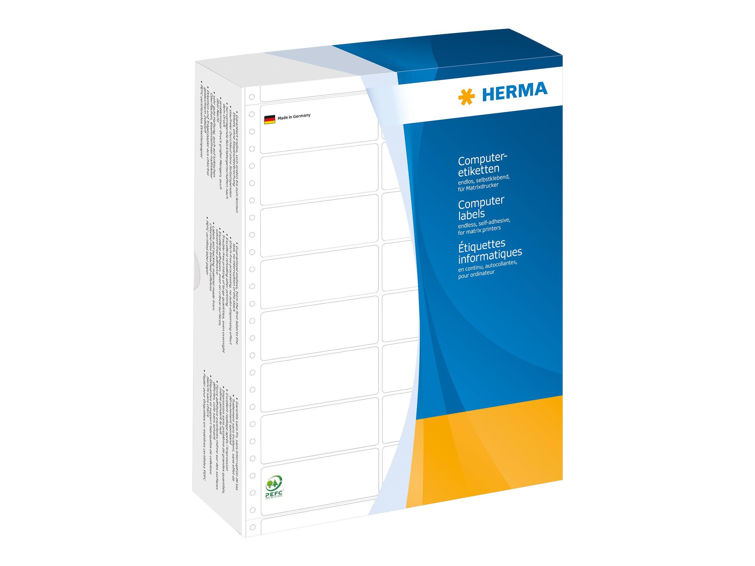 HERMA Computer labels - Papier - matt - permanent selbstklebend - perforiert - weiß - 68.58 x 35.7 mm 12000 Etikett(en) (3 Bogen x 4000)