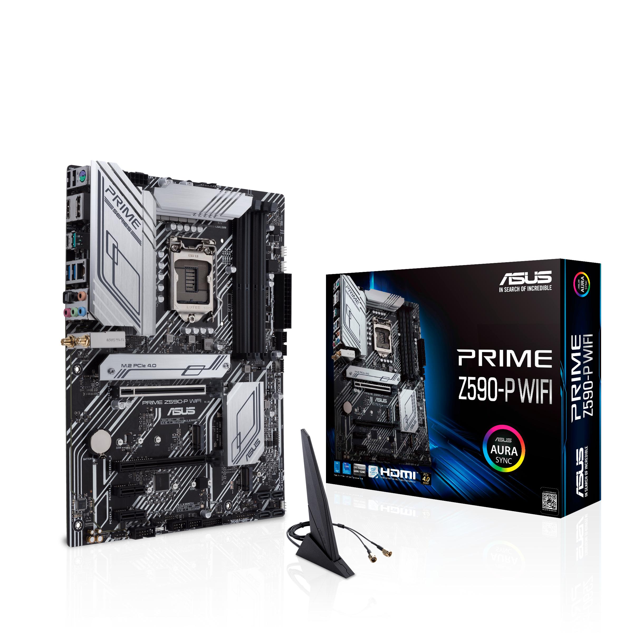 ASUS PRIME Z590-P WIFI - Motherboard - ATX - LGA1200-Sockel - Z590 - USB-C Gen1, USB 3.2 Gen 1, USB 3.2 Gen 2, USB-C Gen 2x2 - 2.5 Gigabit LAN, Wi-Fi, Bluetooth - Onboard-Grafik (CPU erforderlich)