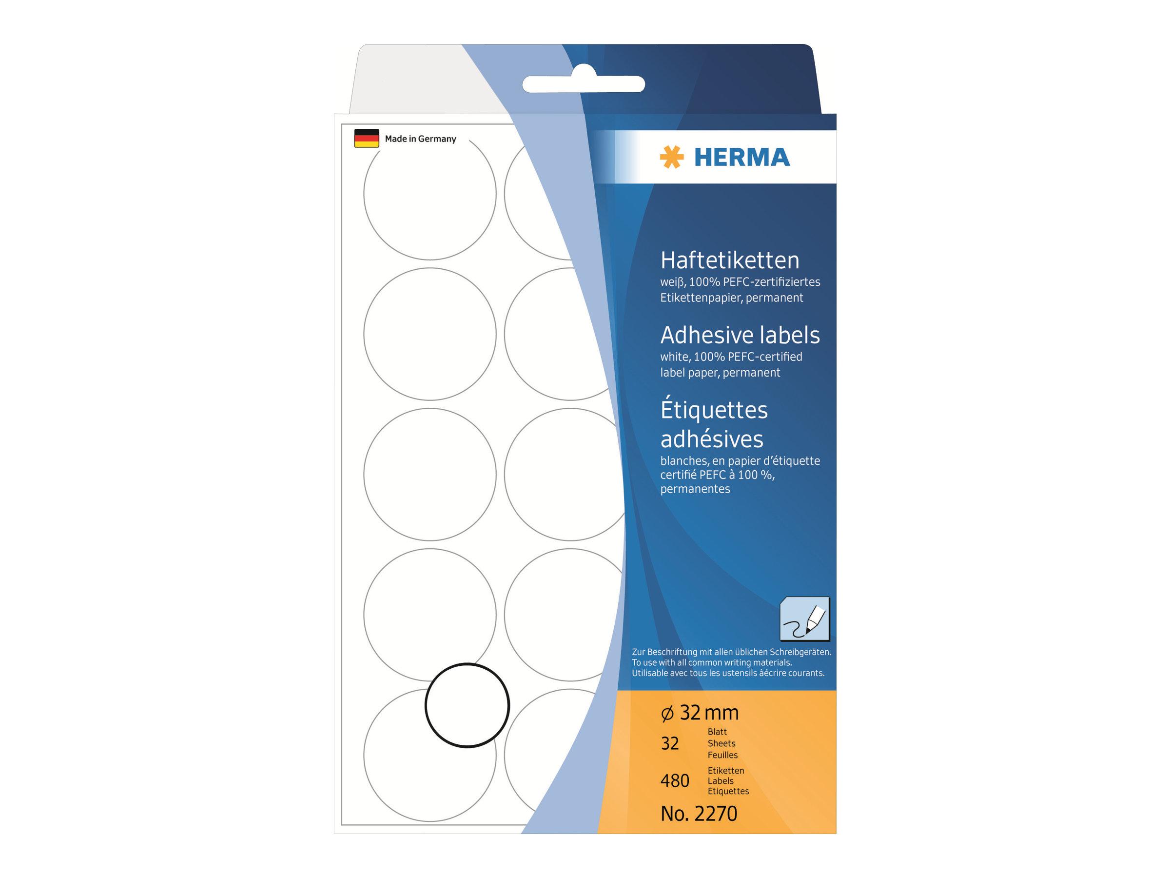 HERMA Permanenter Klebstoff - weiß - 32 mm rund 480 Etikett(en) (32 Bogen x 15)