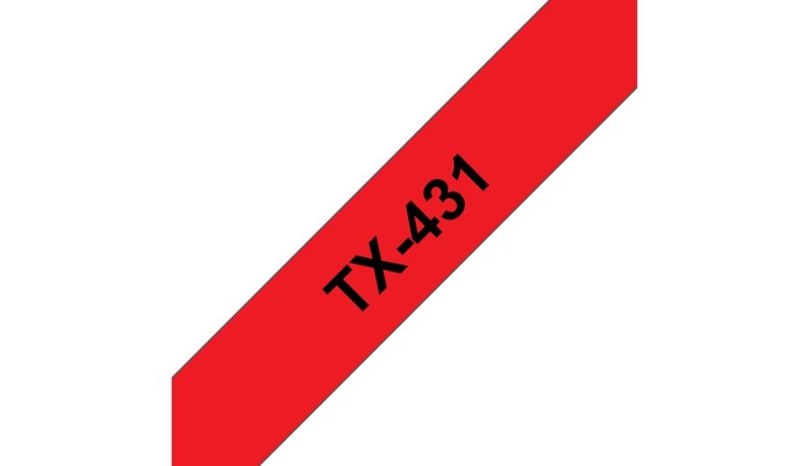 Brother TX-431 Schwarz auf rot TX Etiketten erstellendes Band