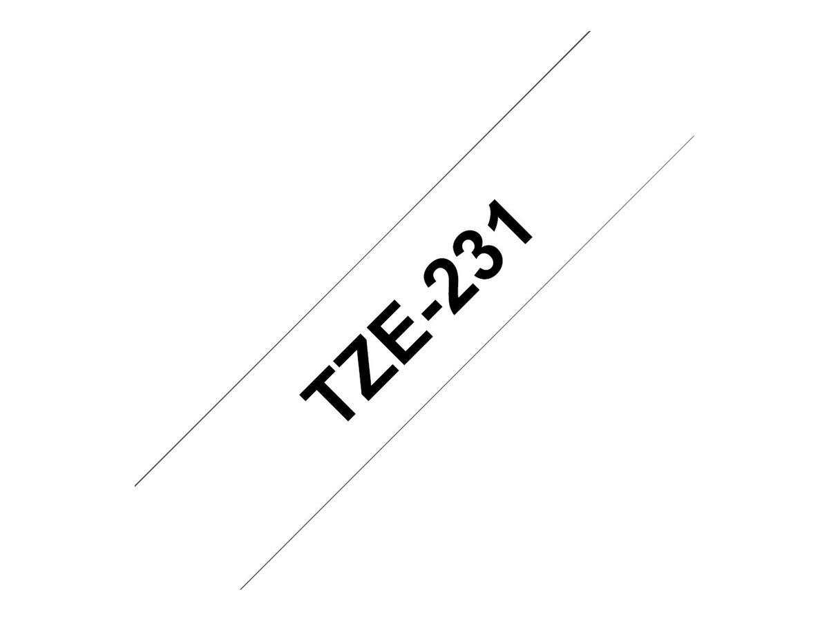 Brother TZe231 - Klebstoff - Schwarz auf Weiß