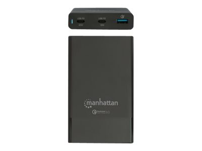 Manhattan Charging Station, 2x USB-C and 1x USB-A Ports, USB-C Outputs: 1x 60W and 1x 18W, USB-A Output: 1x 18W (Qualcomm Quick Charge)