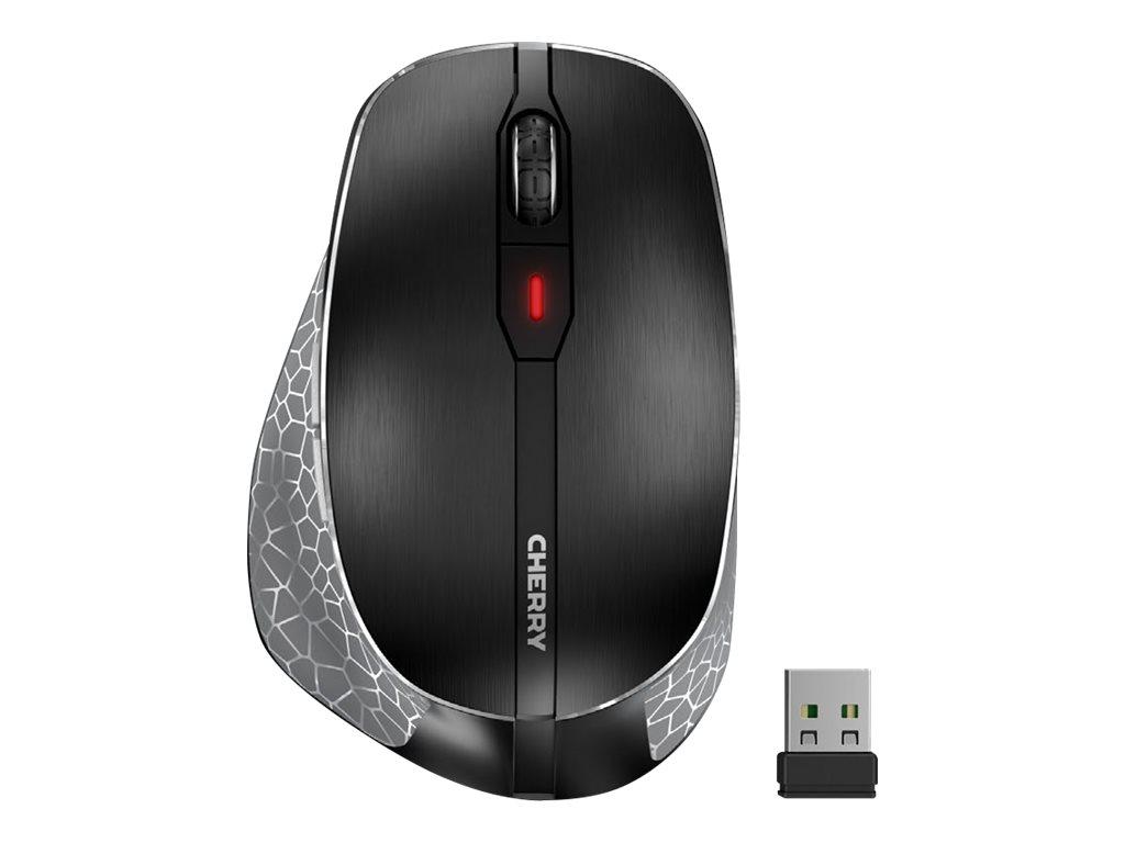 Cherry MW 8 ERGO - Maus - ergonomisch - Für Rechtshänder - optisch - 7 Tasten - kabellos - RF, 2.4 GHz, Bluetooth 4.0 - kabelloser Empfänger (USB)