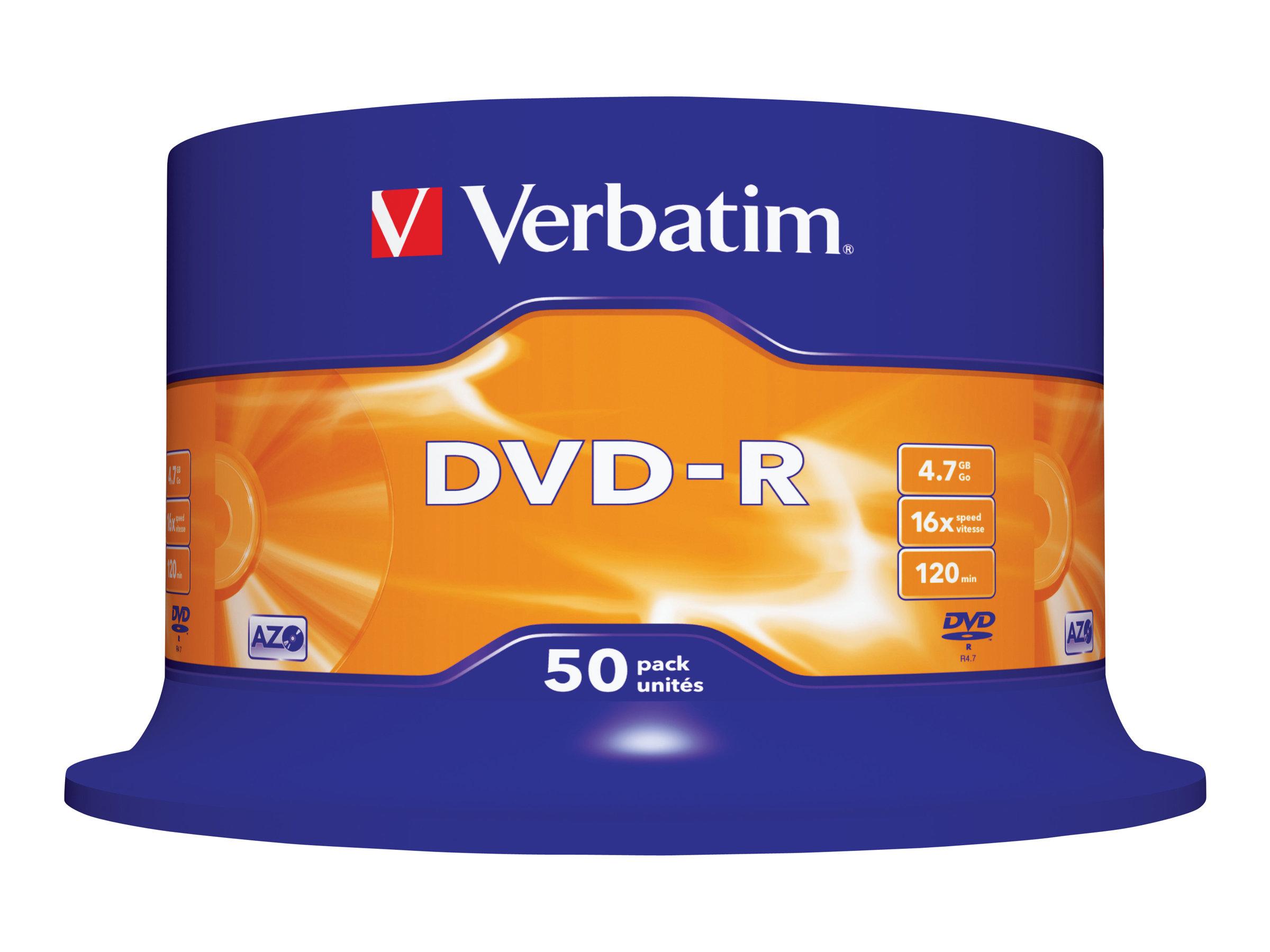 Verbatim 50 x DVD-R - 4.7 GB 16x - mattsilber