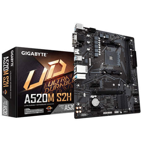 Gigabyte A520M S2H - AMD - Socket AM4 - AMD Ryzen 3 3rd Gen - DDR4-SDRAM - DIMM - 2133,2400,2667,2933,3200,3333,3600,400