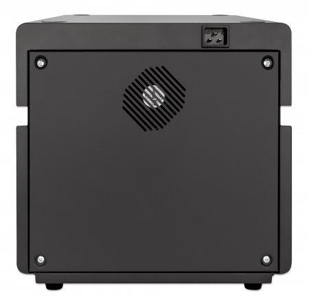 Manhattan 10-Port Ladeschrank 180 W - 10 USB-C PD-Ports - geräumige Fächer für Handys und Tablets - 180 W gesamt - bis zu 3 A/18 W pro Port - abschließbar - Überspannungsschutz - leiser Lüfter - Metallgehäuse - schwarz - Schrank zur Verwaltung tragbarer Geräte - Sc