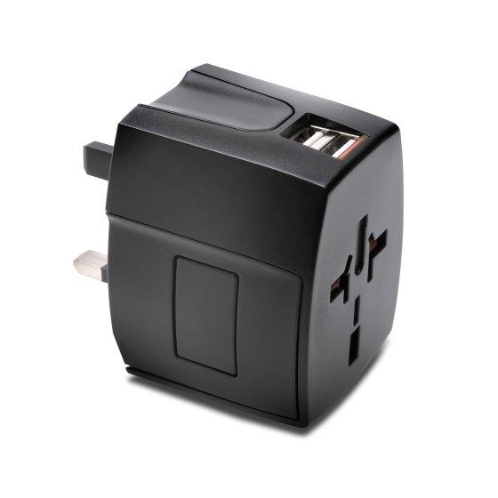 Kensington International Travel Adapter - Netzteil (Stromversorgung, 2 x USB (nur Strom)) - Schwarz