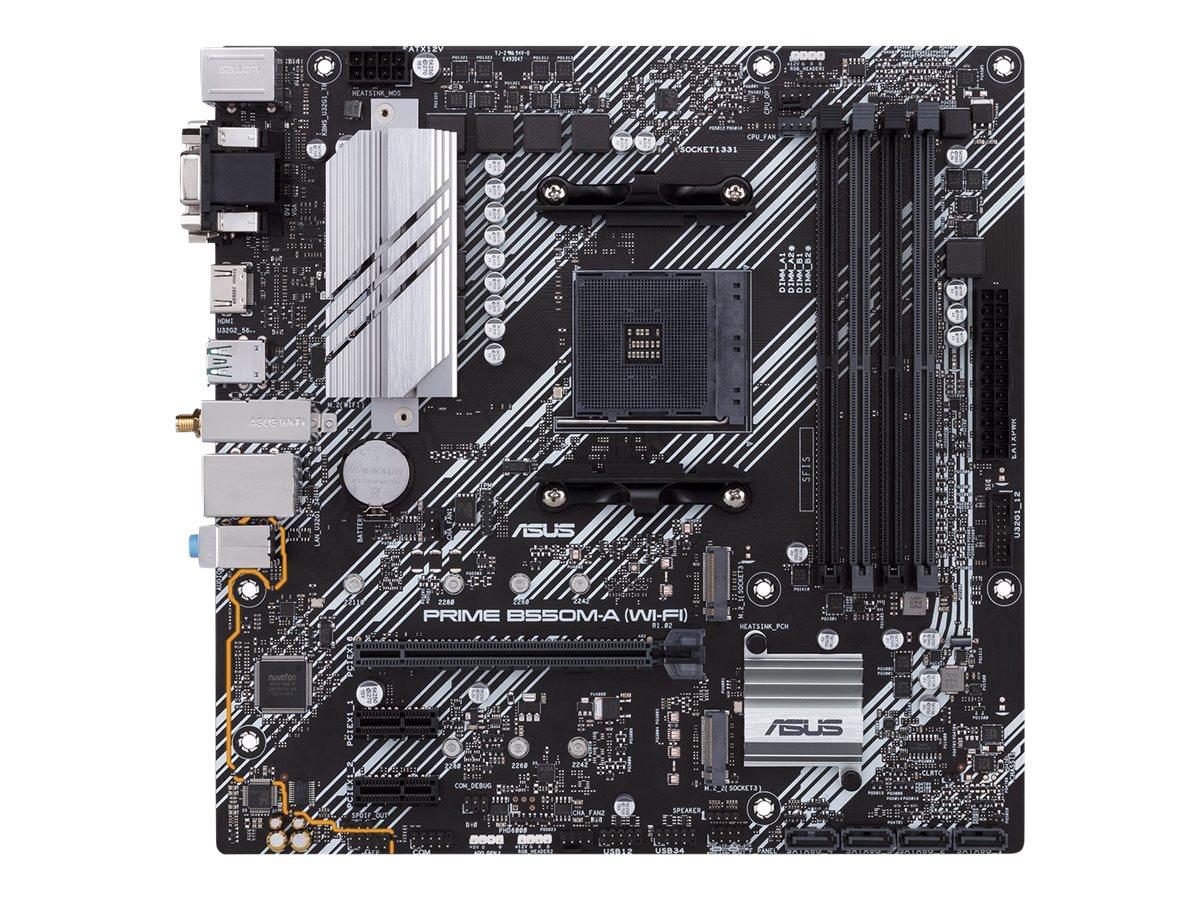 ASUS PRIME B550M-A (WI-FI) - Motherboard - micro ATX - Socket AM4 - AMD B550 - USB 3.2 Gen 1, USB 3.2 Gen 2 - Bluetooth, Gigabit LAN, Wi-Fi - Onboard-Grafik (CPU erforderlich)
