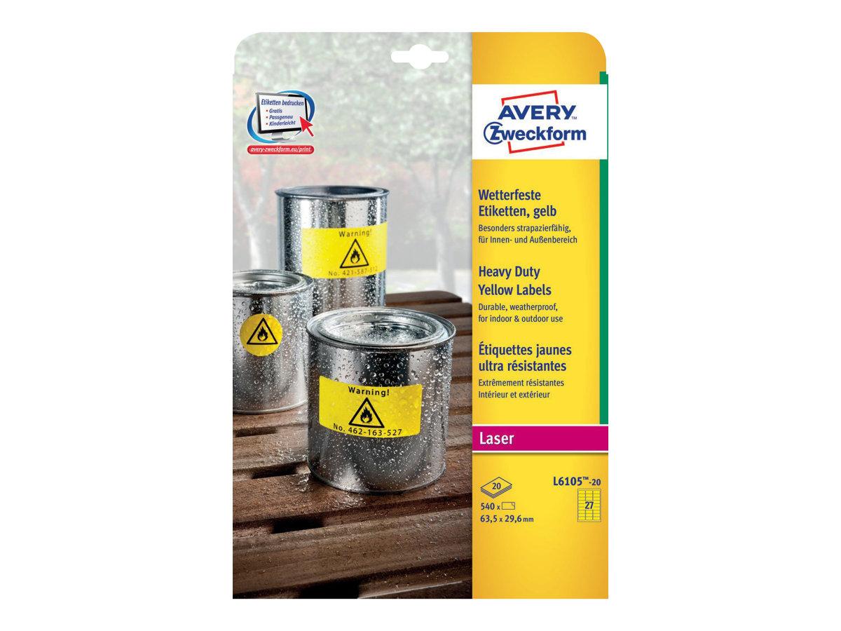 Avery Zweckform L6105-20 - Polyester - Gelb