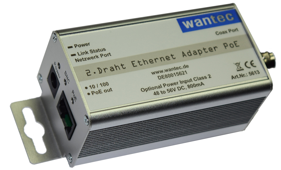 WANTEC 5613 - Schnelles Ethernet - 10,100 Mbit/s - -10 - 50 °C - 123 g - 42 x 76 x 40 mm - 1 Stück(e)