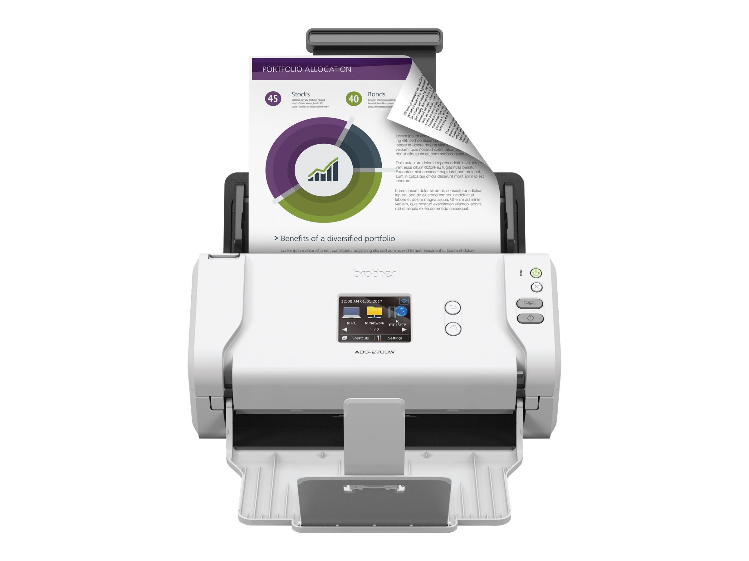 Brother ADS-2700W - Dokumentenscanner - Duplex - Legal - 600 dpi x 600 dpi - bis zu 35 Seiten/Min. (einfarbig)