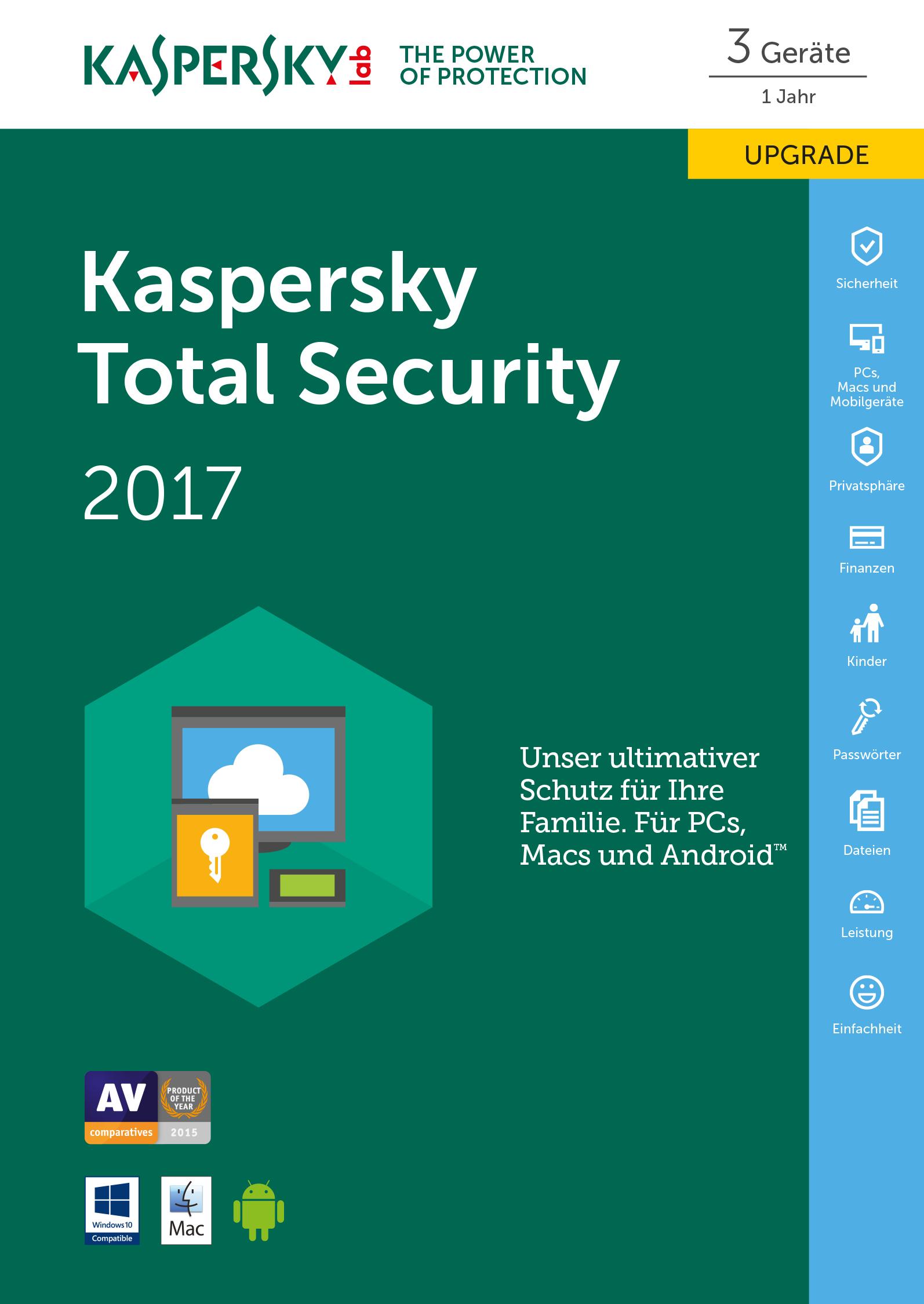 Kaspersky Total Security 2017 - Box-Pack (Upgrade) ( 1 Jahr ) - 3 Geräte ( Sierra )