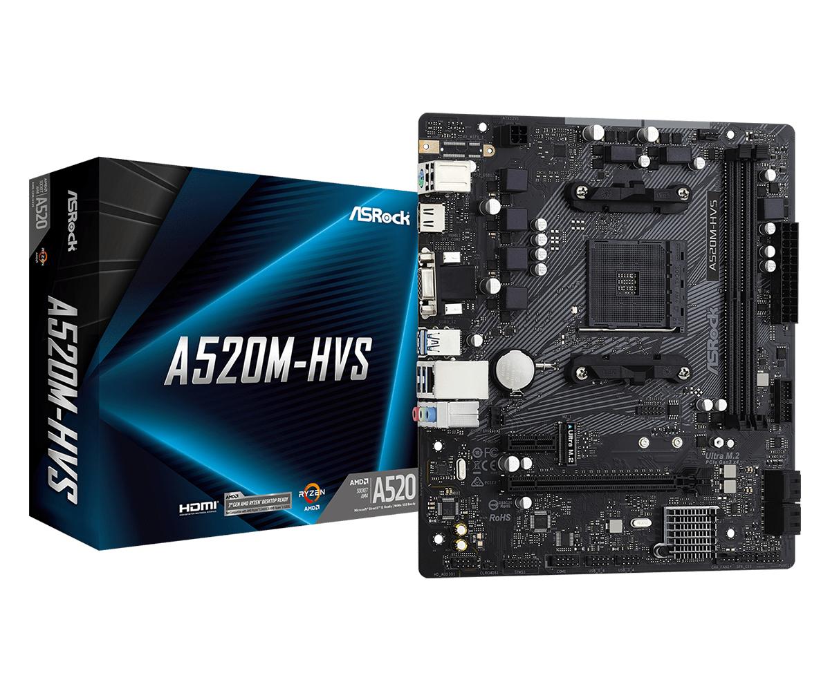 ASRock A520M-HVS - AMD - Socket AM4 - AMD Ryzen - DDR4-SDRAM - DIMM - 2133,2400,2666,2933,3200,3466,3600,3733,3800,3866,
