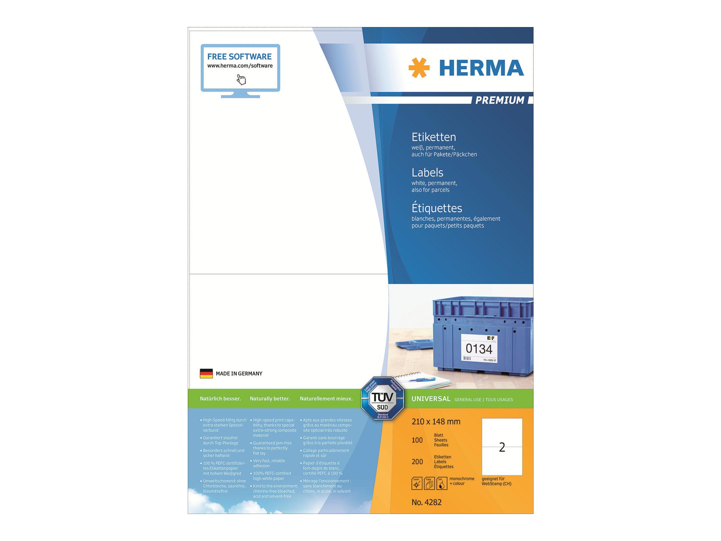 HERMA Premium - Papier - matt - permanent selbstklebend - weiß - A5 (148 x 210 mm)
