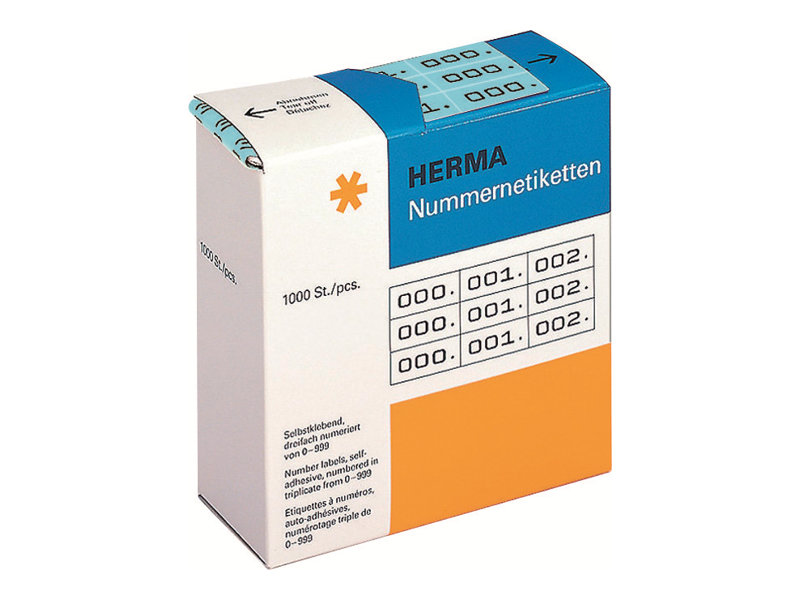 HERMA Schwarz, Blau - 10 x 22 mm 3000 Etikett(en) (1000 Bogen x 3)