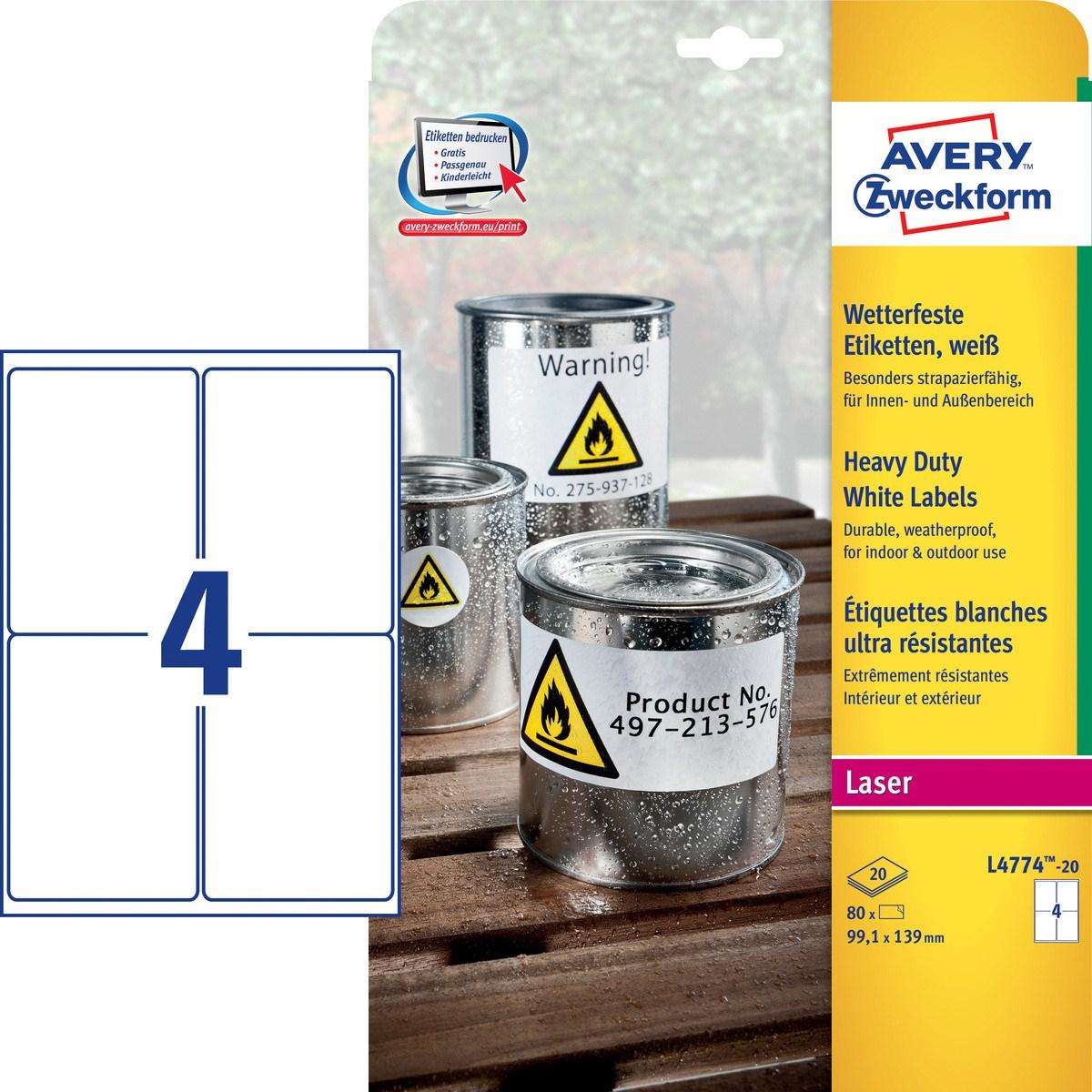 Avery Zweckform  Polyester - weiß - A4 (210 x 297 mm) 20 Stck. (5 Bogen x 4)