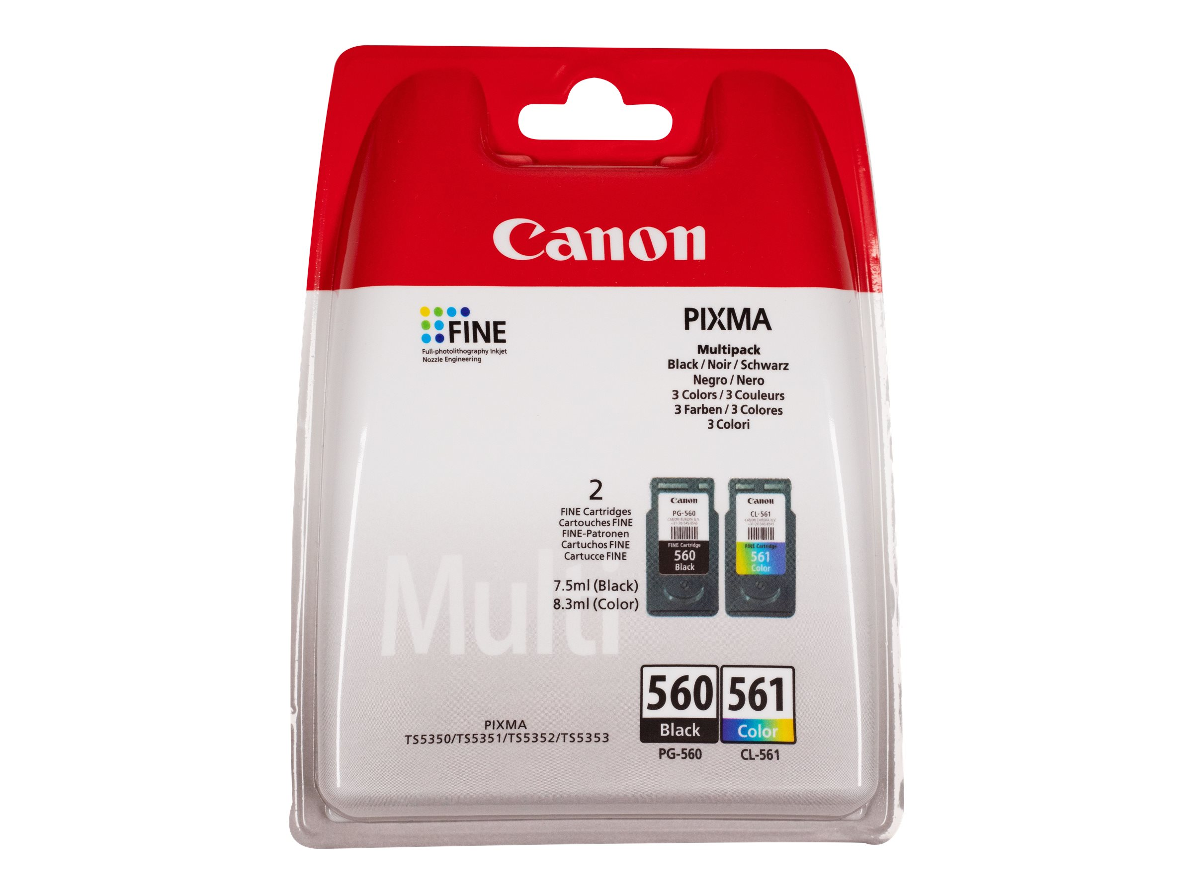 Canon PG-560 / CL-561 Multipack - 2er-Pack - Schwarz, Farbe (Cyan, Magenta, Gelb)