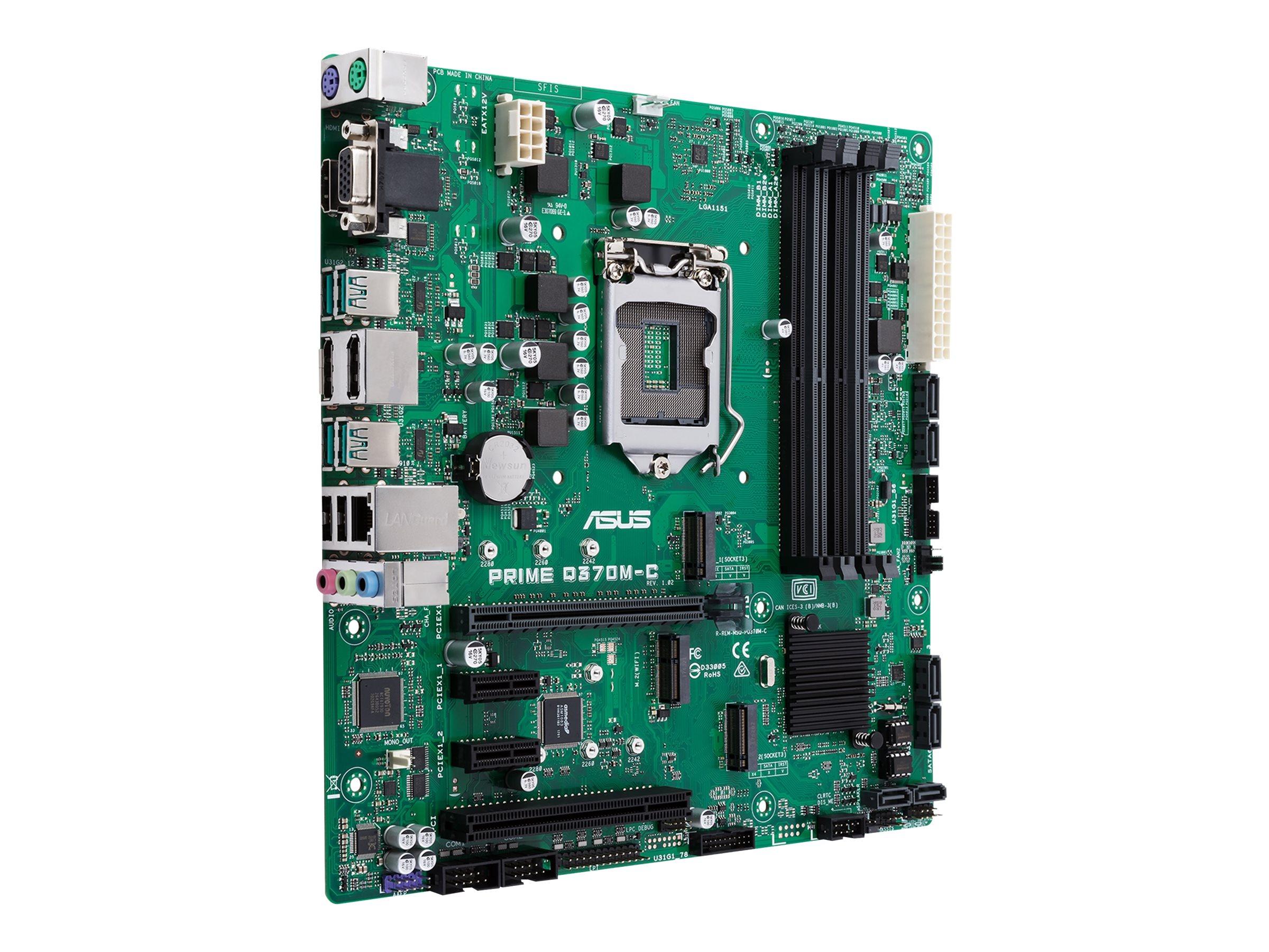 ASUS PRIME Q370M-C - Motherboard - micro ATX - LGA1151 Socket - Q370 - USB 3.1 Gen 1, USB 3.1 Gen 2 - Gigabit LAN - Onboard-Grafik (CPU erforderlich)