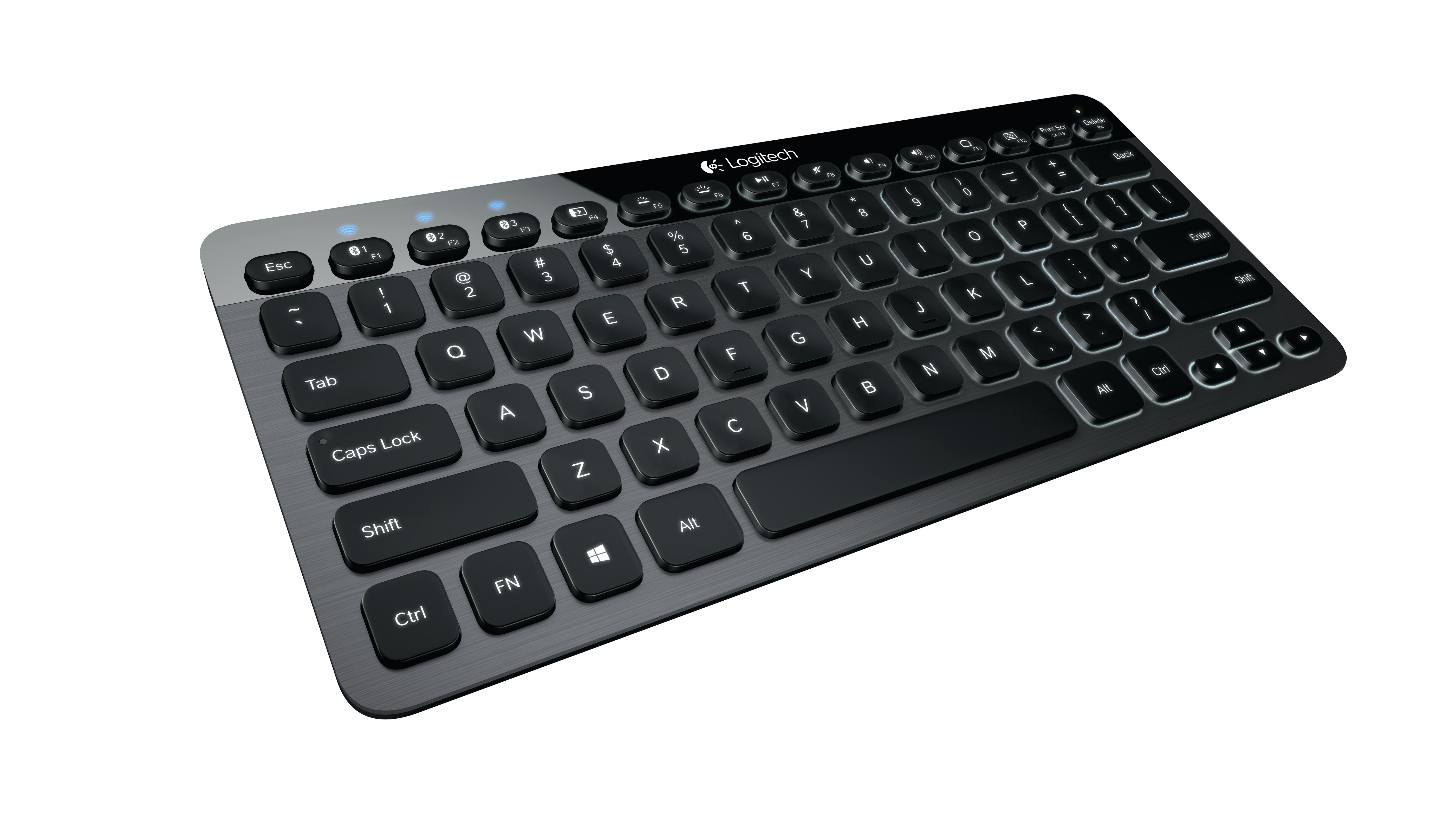Logitech Bluetooth Illuminated Keyboard K810 Bluetooth QWERTZ Deutsch Aluminium Tastatur für Mobilgeräte