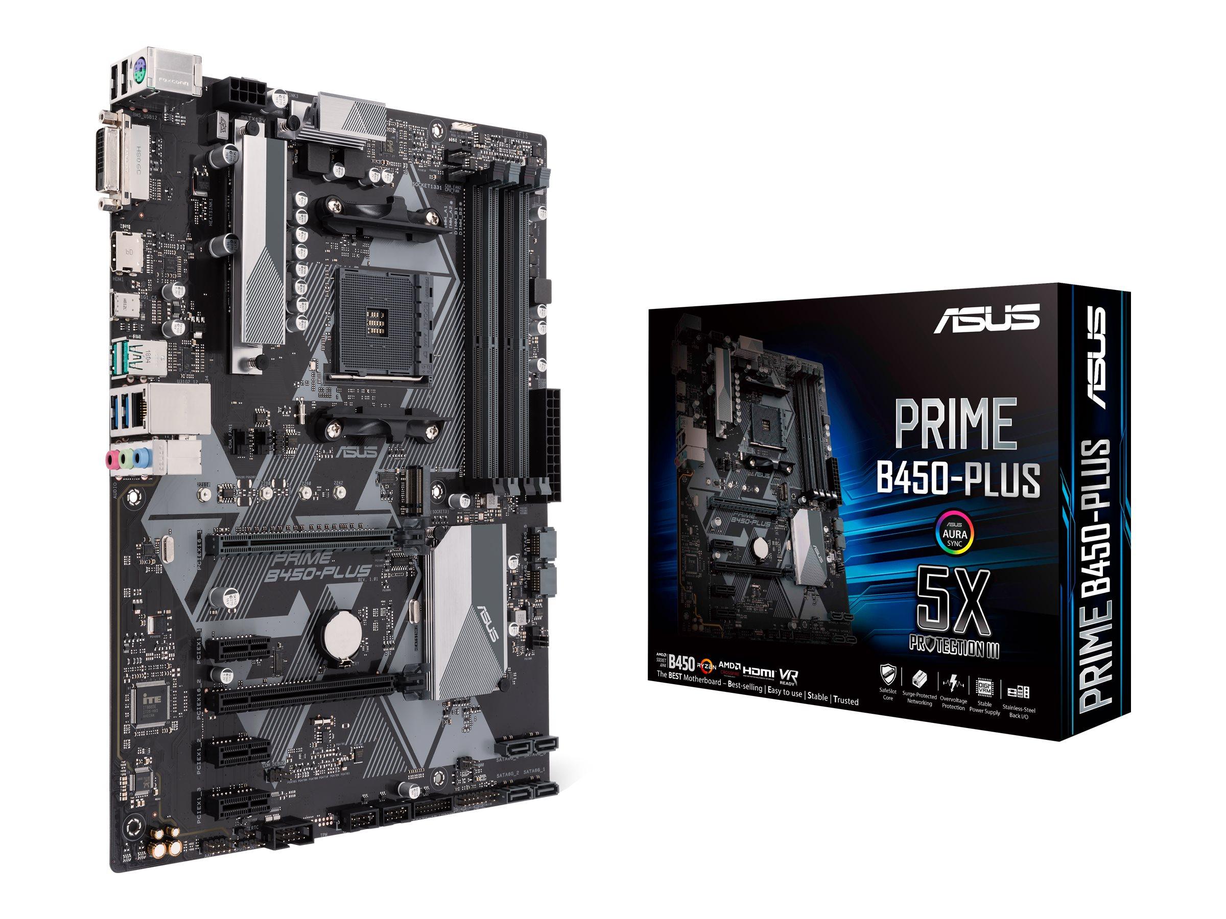 ASUS PRIME B450-PLUS - Motherboard - ATX - Socket AM4 - AMD B450 - USB 3.1 Gen 1, USB 3.1 Gen 2, USB-C Gen1 - Gigabit LAN - Onboard-Grafik (CPU erforderlich)