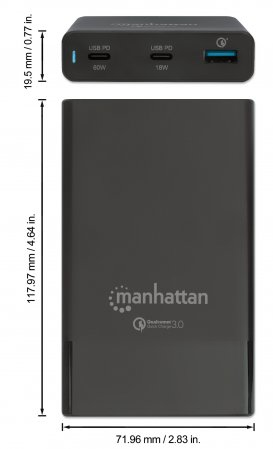 Manhattan 102223 - Indoor - AC - 20 V - Schwarz