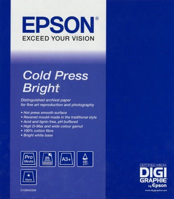 Epson Fine Art Cold Press Bright - Beidseitig beschichtetes Baumwollpapier, glatt - A3 plus (329 x 423 mm)