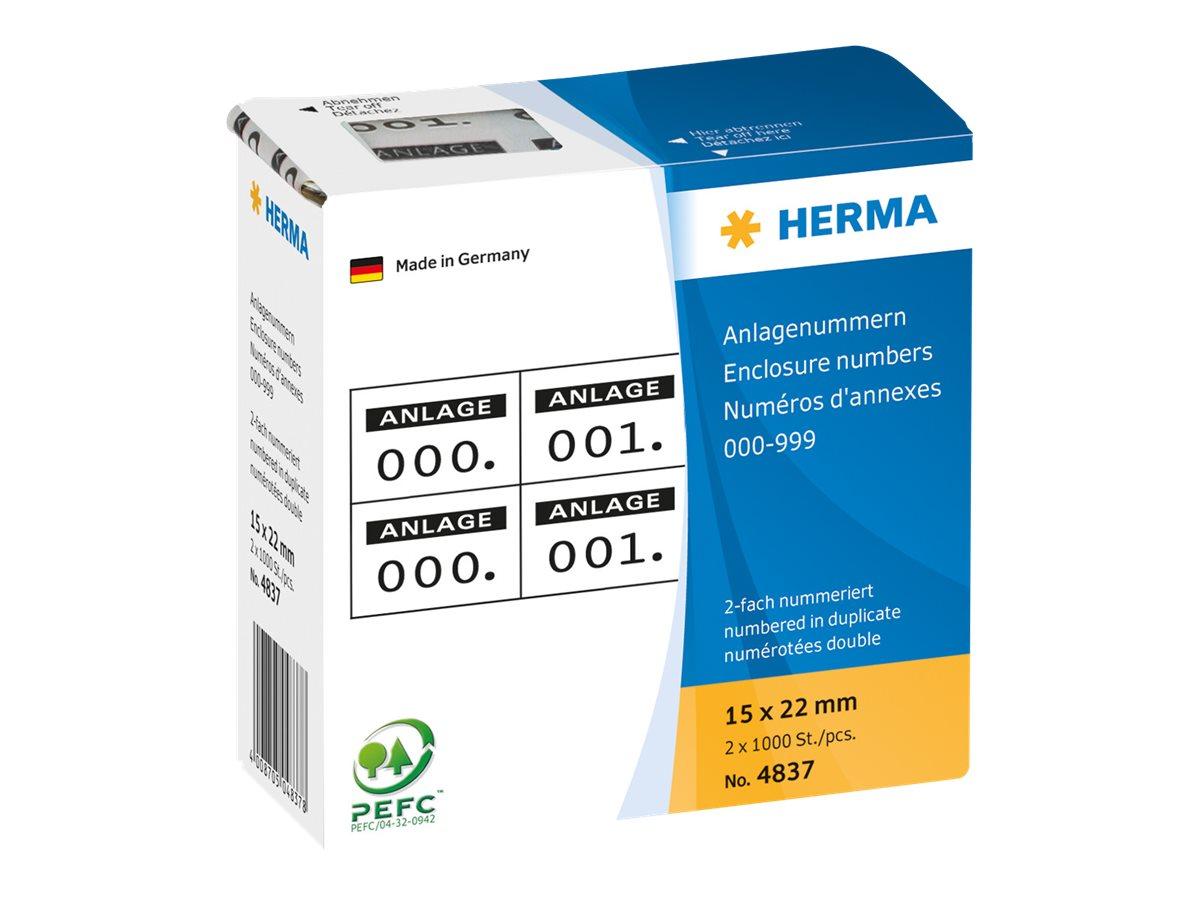 HERMA Schwarz, weiß - 15 x 22 mm 2000 Etikett(en) (1000 Bogen x 2)