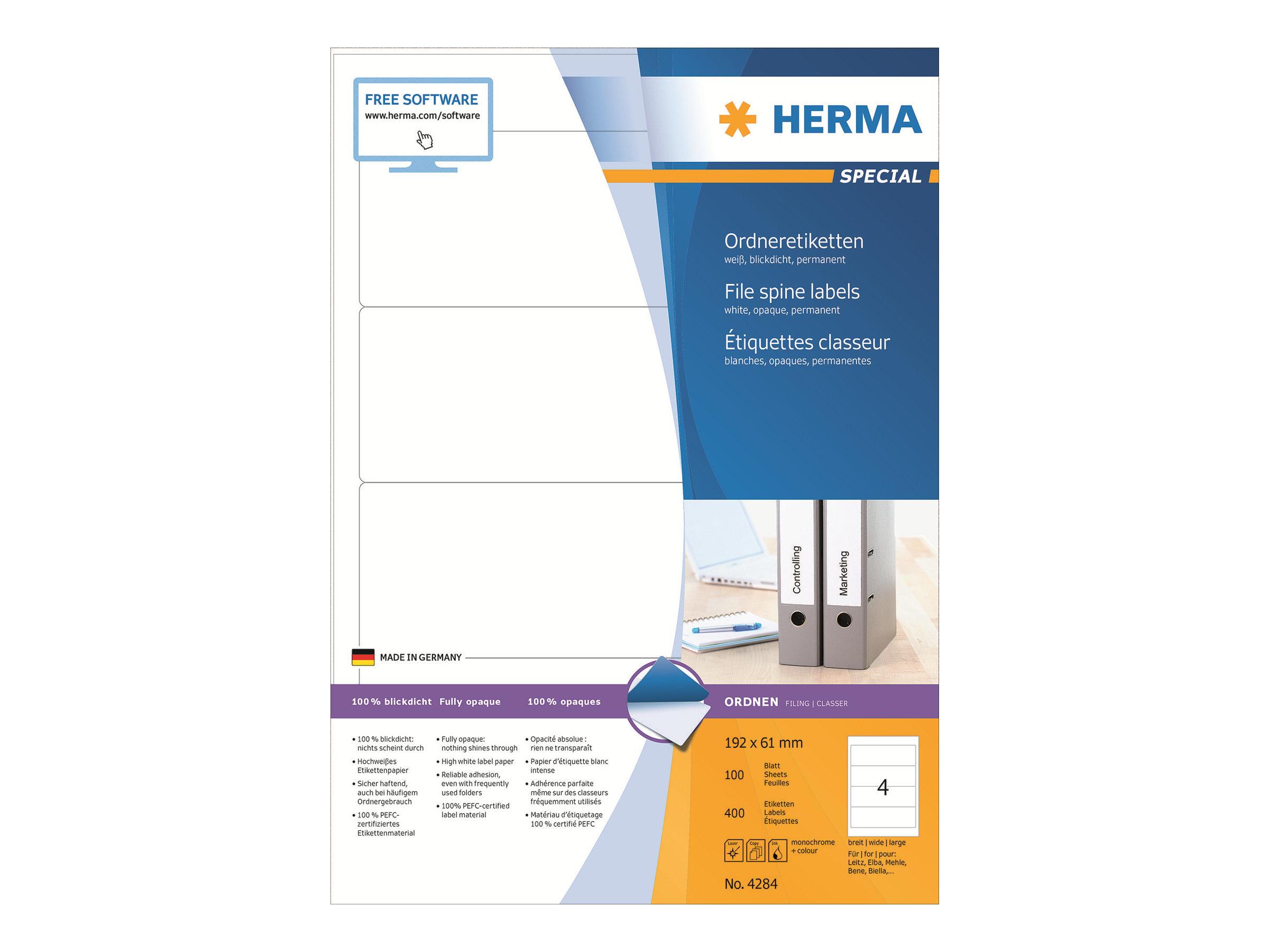 HERMA Special - Papier - matt - permanent selbstklebend - weiß - 192 x 61 mm 400 Etikett(en) (100 Bogen x 4)