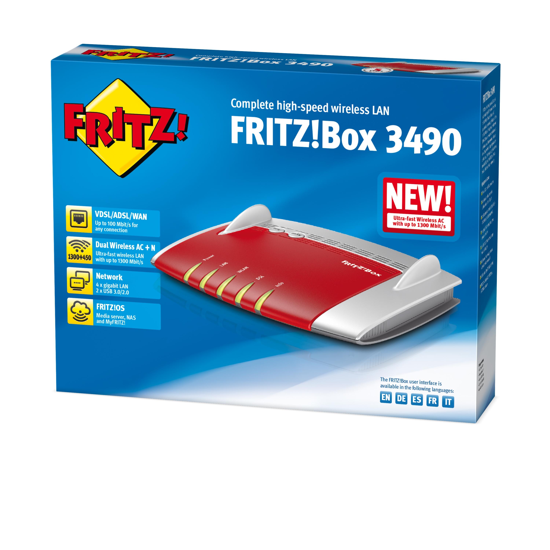 AVM FRITZ!Box 3490 International Dual-Band (2,4 GHz/5 GHz) Gigabit Ethernet Rot - Weiß WLAN-Router