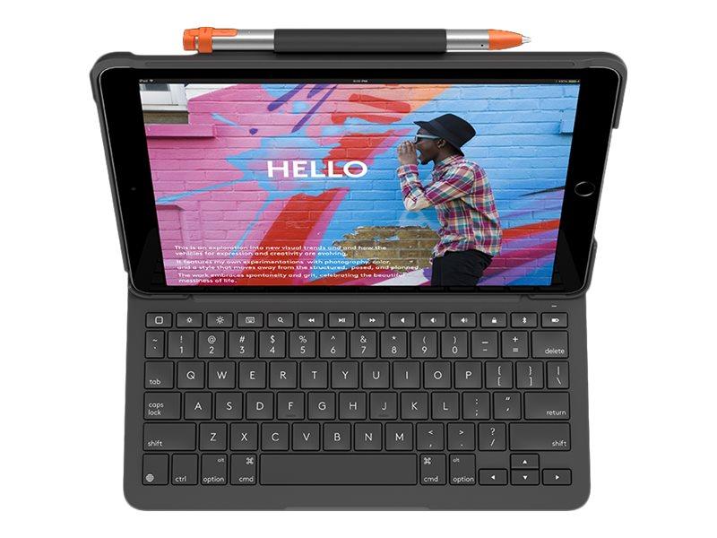 Logitech Slim Folio - Tastatur und Foliohülle - Bluetooth - UK Englisch - Graphite - für Apple 10.2-inch iPad (7. Generation)