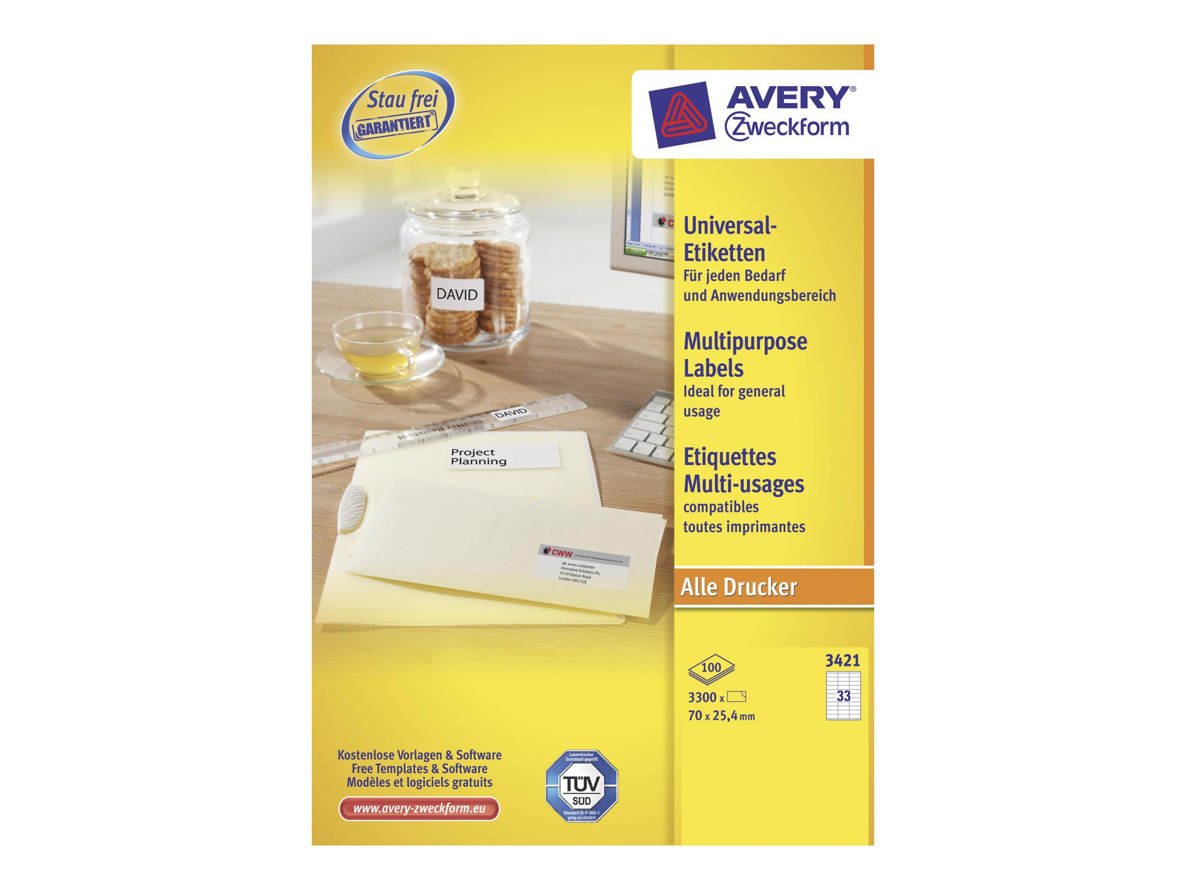 Avery Zweckform  Weiß - 70 x 25.4 mm 3300 Stck. (100 Bogen x 33) Mehrzwecketiketten