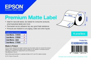 Vorschau: Epson Premium Matte 76mm x 51mm - 2310 Weiß Matt