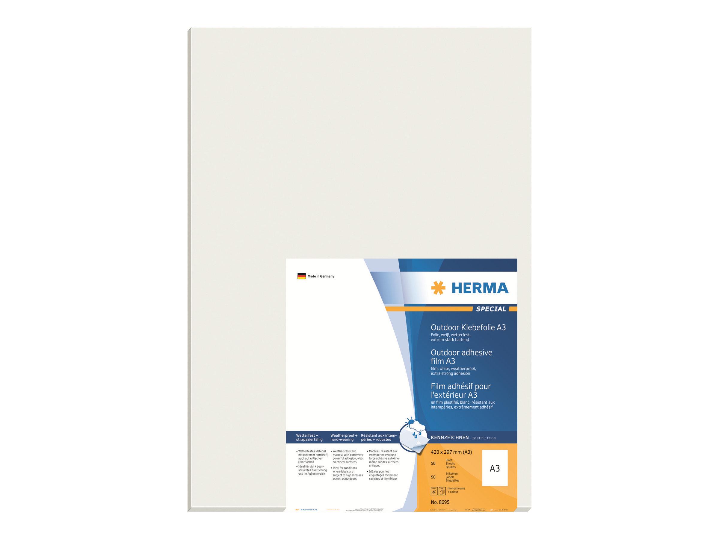 HERMA Special - Polyethylen (PE) - matt - selbstklebend - weiß - A3 (297 x 420 mm)