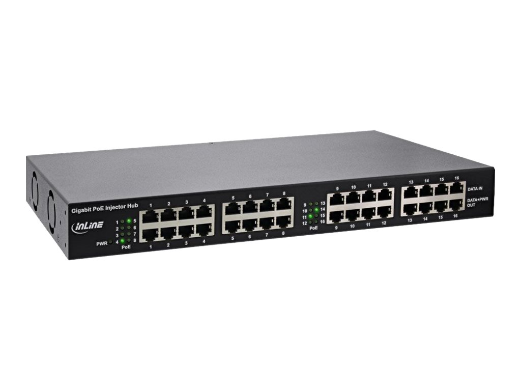 InLine PoE+ Gigabit Network Injector Hub 16 Port - Power Injector (Rack - einbaufähig)