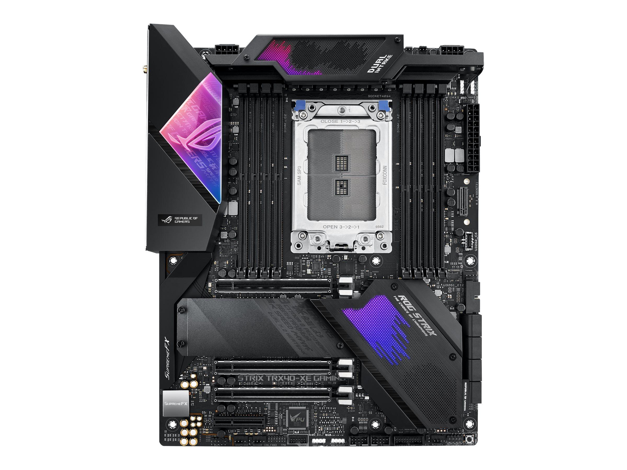 Vorschau: ASUS ROG STRIX TRX40-XE GAMING - Motherboard - ATX - Socket sTRX4 - AMD TRX40 - USB-C Gen2, USB 3.2 Gen 1, USB 3.2 Gen 2 - Gigabit LAN, 2.5 Gigabit LAN, Wi-Fi, Bluetooth - HD Audio (8-Kanal)