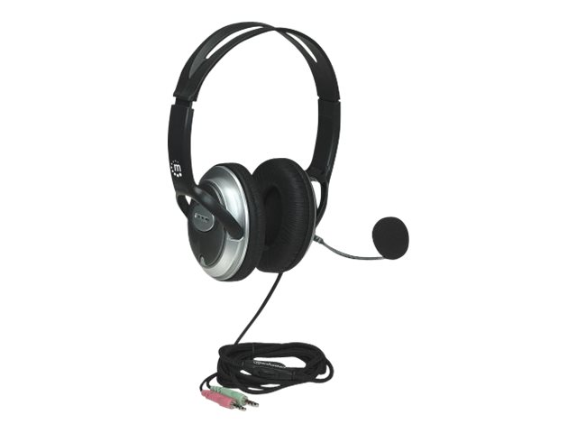 Manhattan Classic Stereo Headset, Adjustable Steel Headband, Flexible Padded Microphone Boom, In-Line Volume Control, Comfortable Padded Ear Cushions, 2x 3.5mm jacks/plugs, Super Bass System, Silver/Black, Three Year Warranty, Retail Box