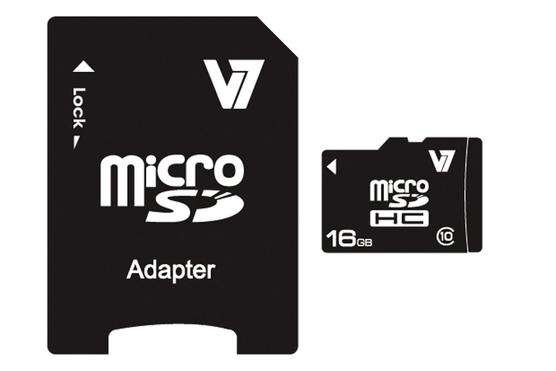 V7 VAMSDH16GCL10R-2E - Flash-Speicherkarte ( microSDHC/SD-Adapter inbegriffen ) - 16 GB
