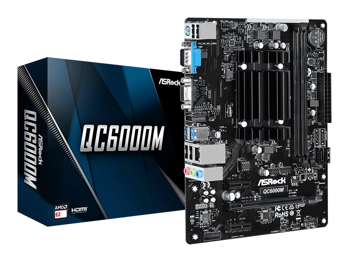 ASRock QC6000M - Motherboard - micro ATX - AMD E2 6110 - USB 3.2 Gen 1 - Gigabit LAN - Onboard-Grafik - HD Audio (8-Kanal)