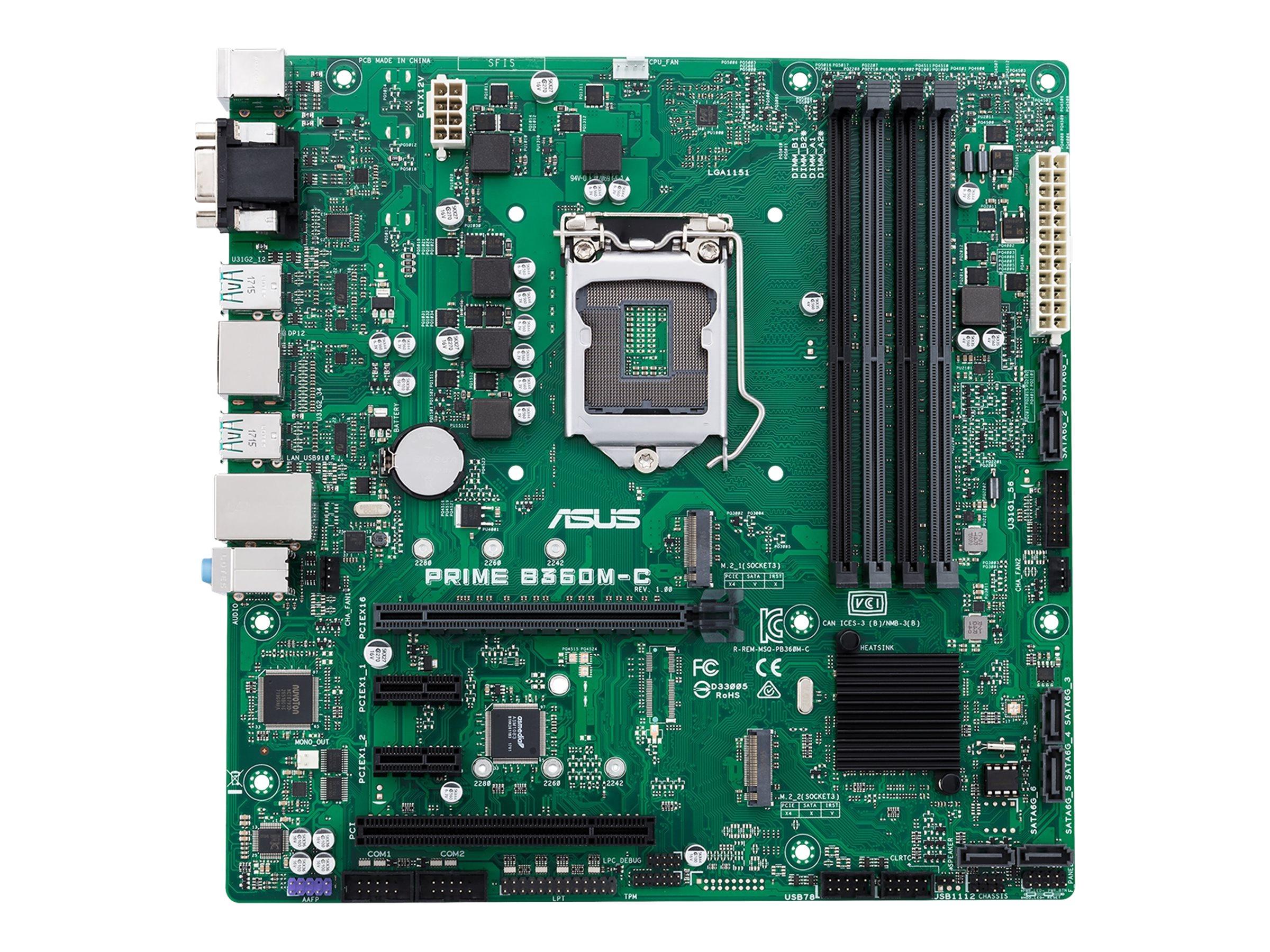 ASUS PRIME B360M-C - Motherboard - micro ATX - LGA1151 Socket - B360 - USB 3.1 Gen 1, USB 3.1 Gen 2 - Gigabit LAN - Onboard-Grafik (CPU erforderlich)