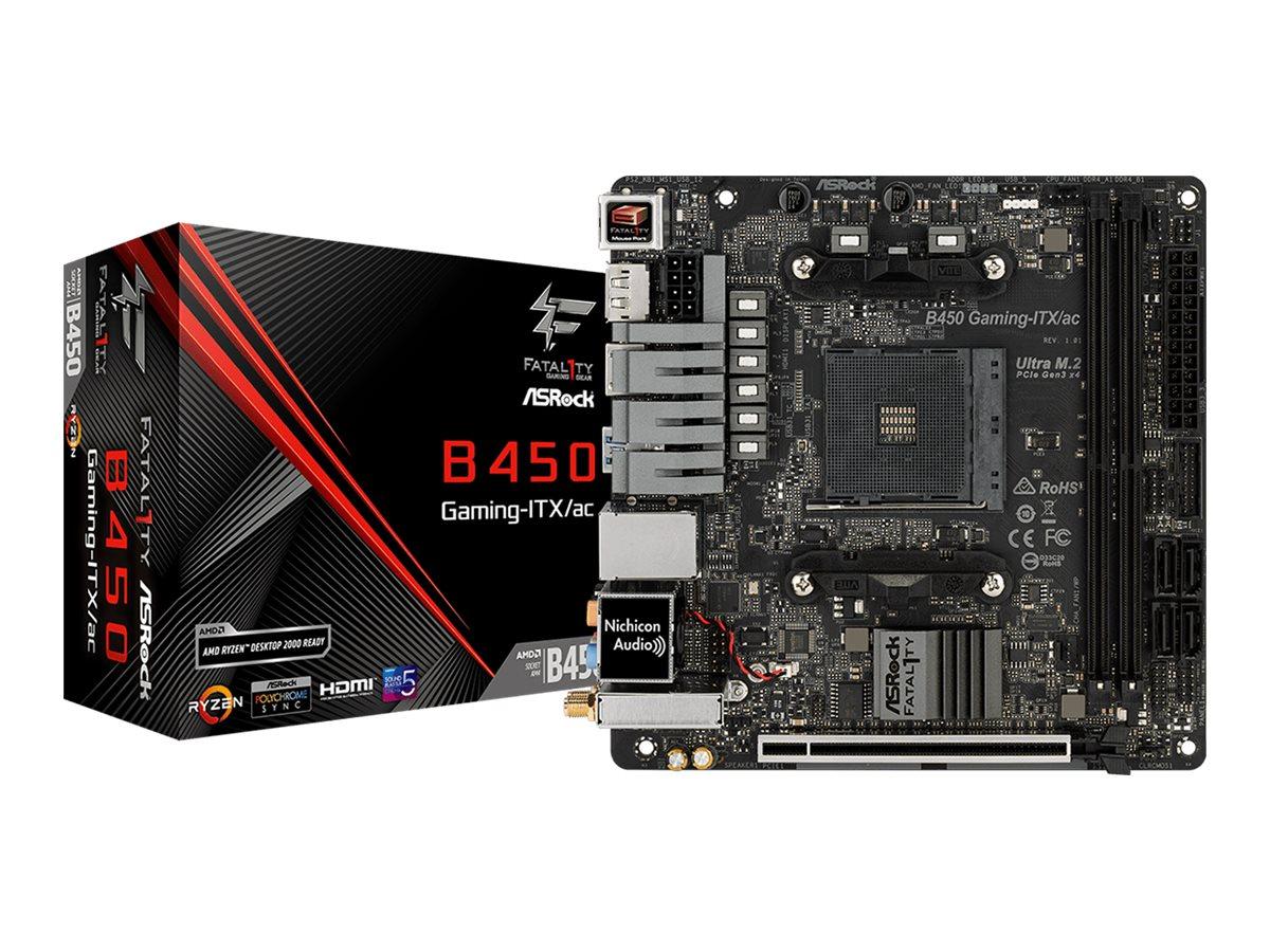 ASRock Fatal1ty B450 Gaming-ITX/ac - Motherboard - Mini-ITX - Socket AM4 - AMD B450 - USB 3.1 Gen 1, USB-C Gen2, USB 3.1 Gen 2 - Bluetooth, Gigabit LAN, Wi-Fi - Onboard-Grafik (CPU erforderlich)