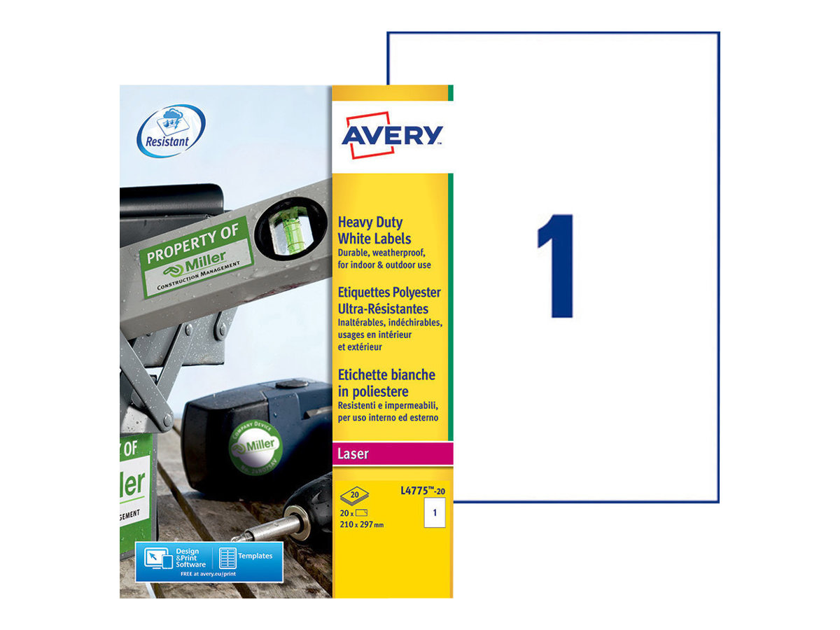 Avery Zweckform Heavy Duty Laser Labels - Polyester - A4 (210 x 297 mm)
