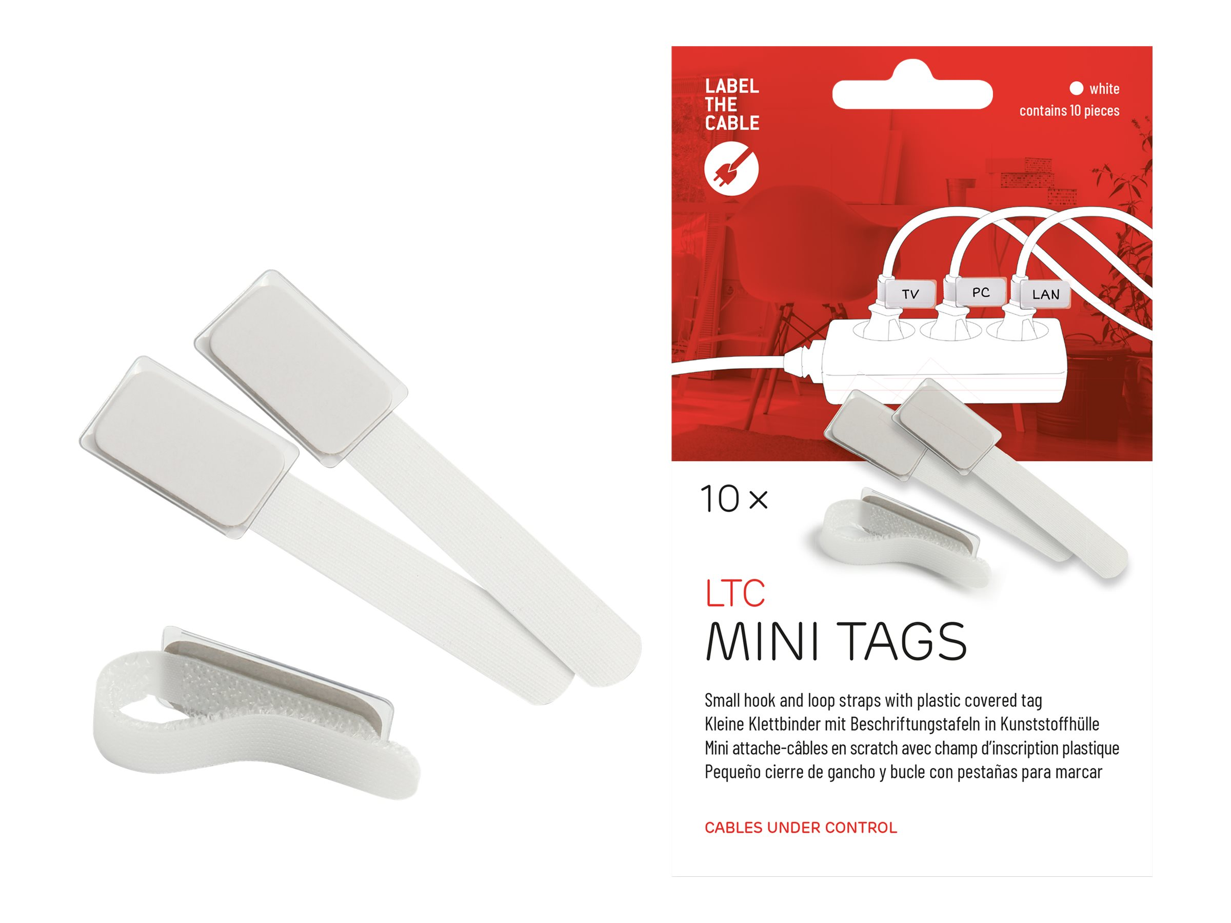 Label-the-cable LTC MINI TAGS - Draht-/Kabel-Marker - 9 cm - weiß (Packung mit 10)