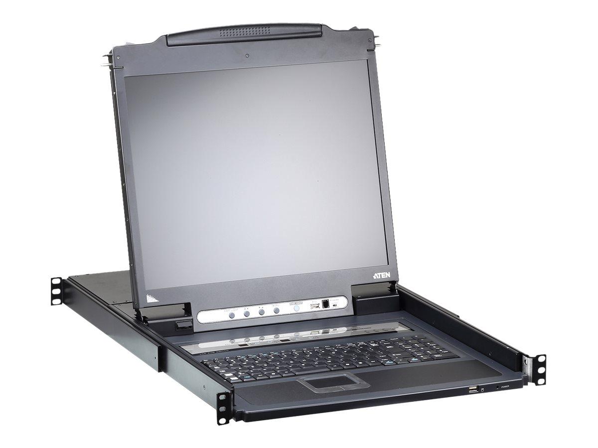 """ATEN Slideaway CL5708IM - KVM-Konsole mit KVM-Switch - 8 Anschlüsse - PS/2, USB - Französisch - 43.2 cm (17"""")"""