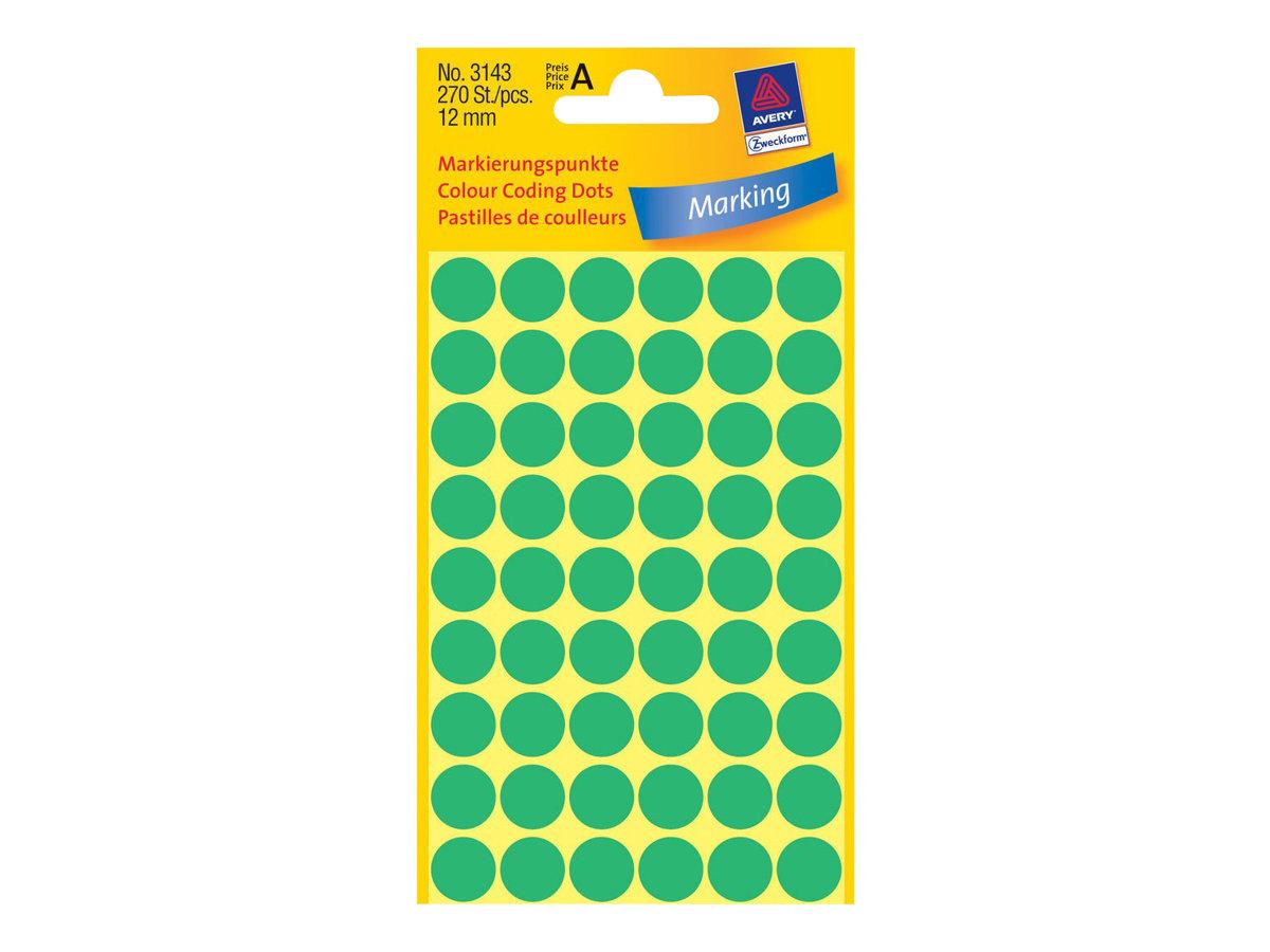 Avery Zweckform Grün - 12 mm rund 270 Etikett(en) (5 Bogen x 54) runde Etiketten