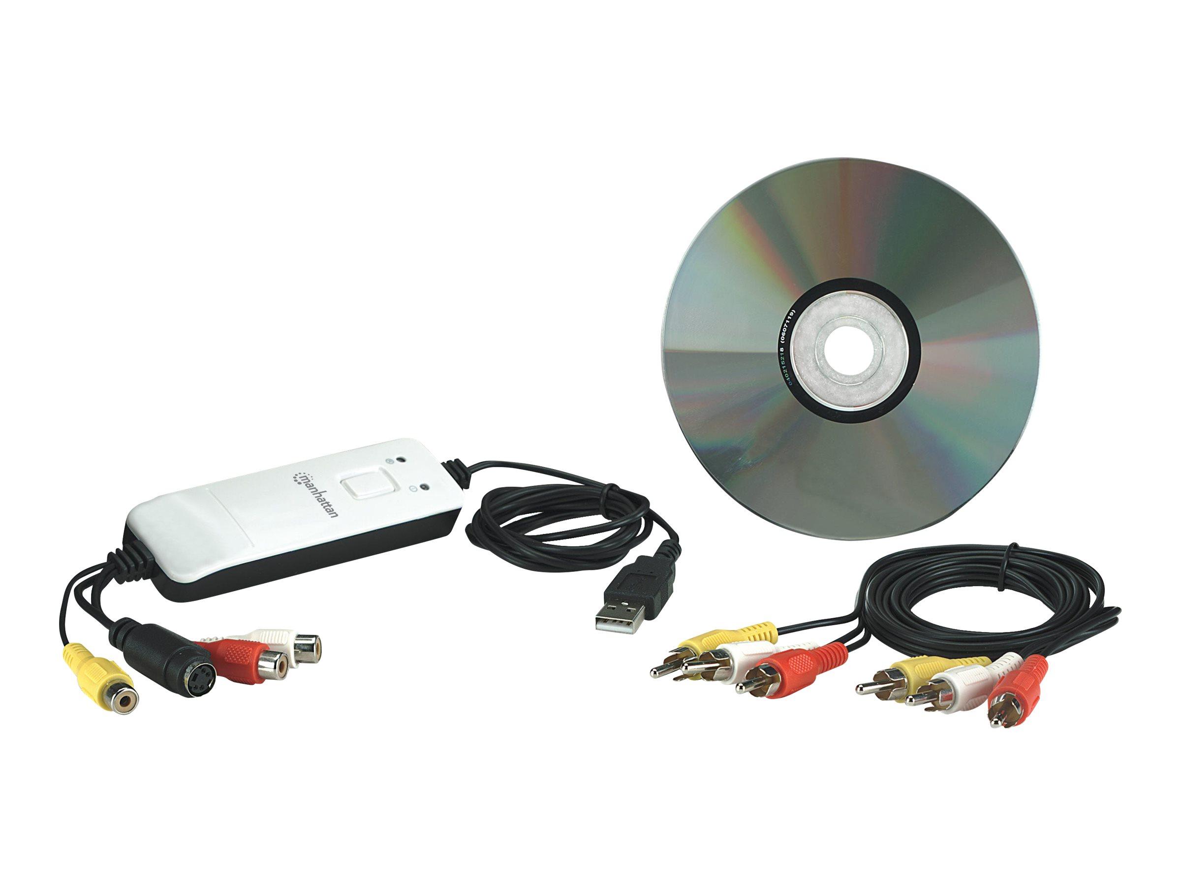 Manhattan USB Audio/Video Grabber, Aufnahme, Bearbeitung und Konvertierung von Audio und Video auf Knopfdruck
