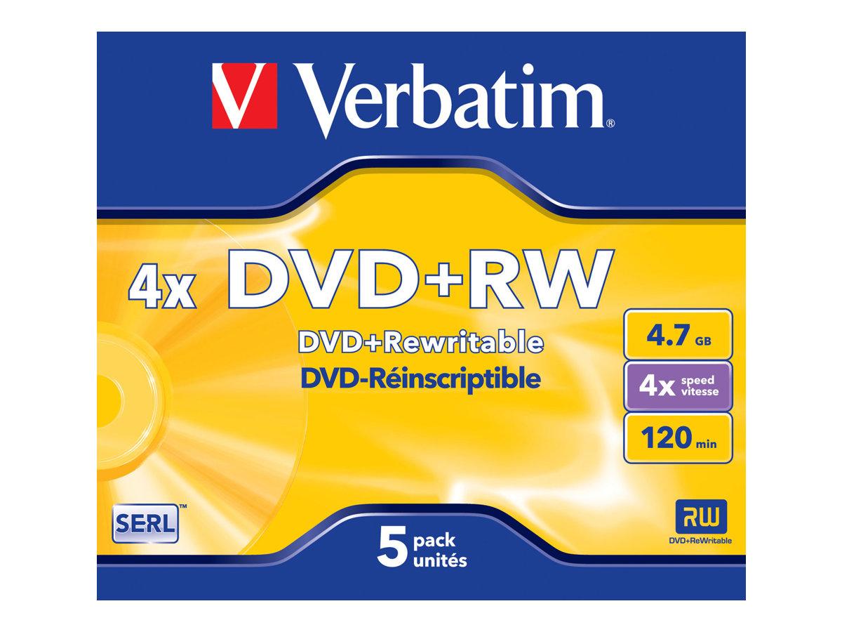 Verbatim DataLifePlus - 5 x DVD+RW - 4.7 GB 4x - Jewel Case (Schachtel)
