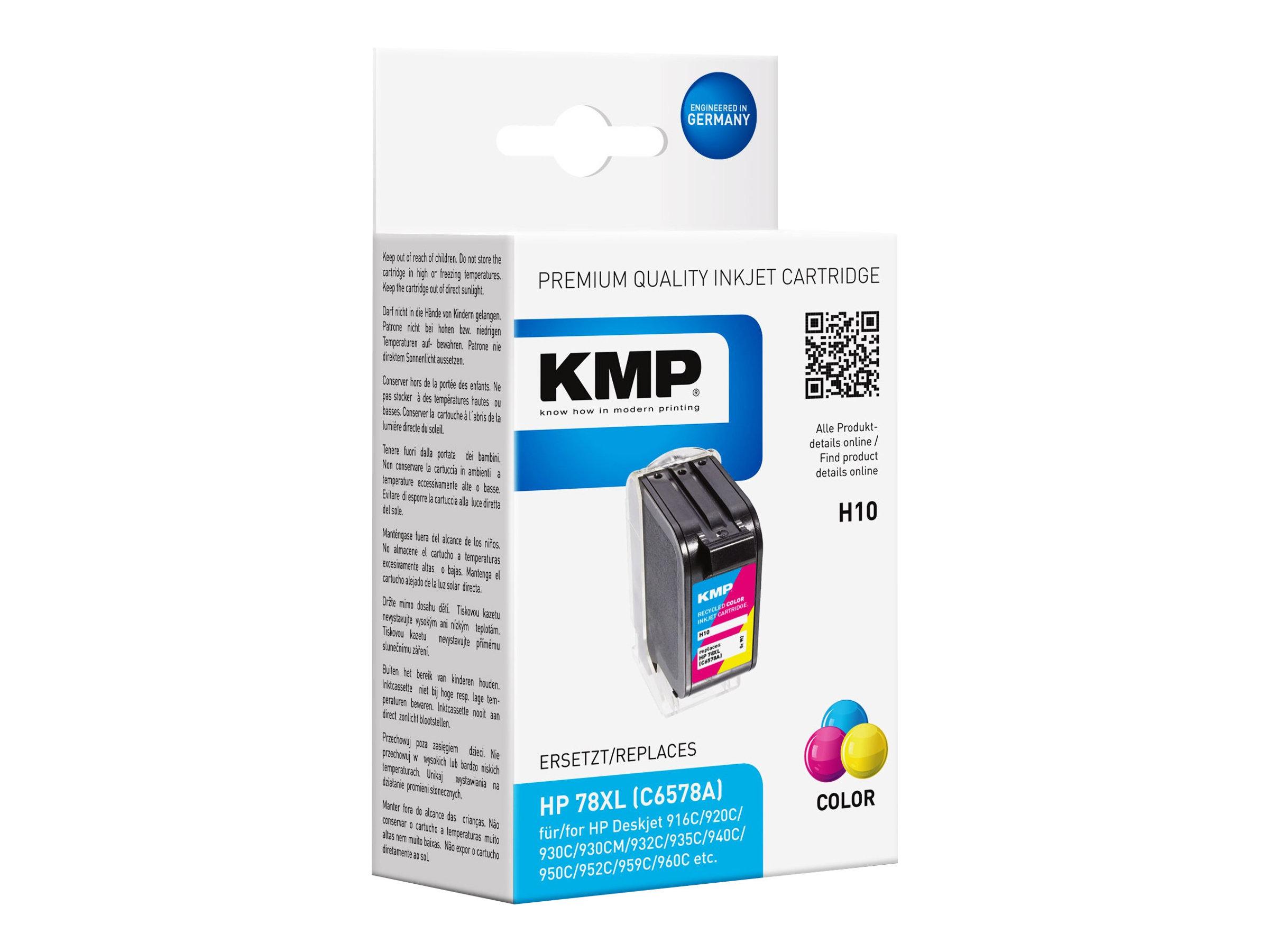 KMP H10 - 39 ml - Farbe (Cyan, Magenta, Gelb)