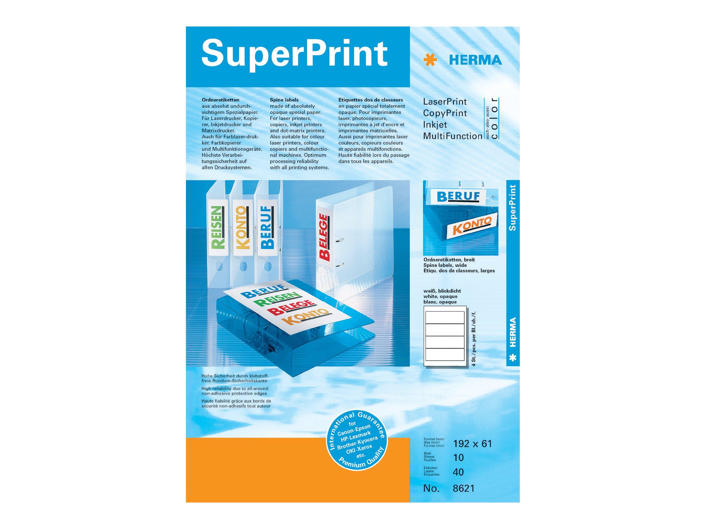 HERMA Special - Papier - matt - permanent selbstklebend - weiß - 192 x 61 mm 40 Etikett(en) (10 Bogen x 4)