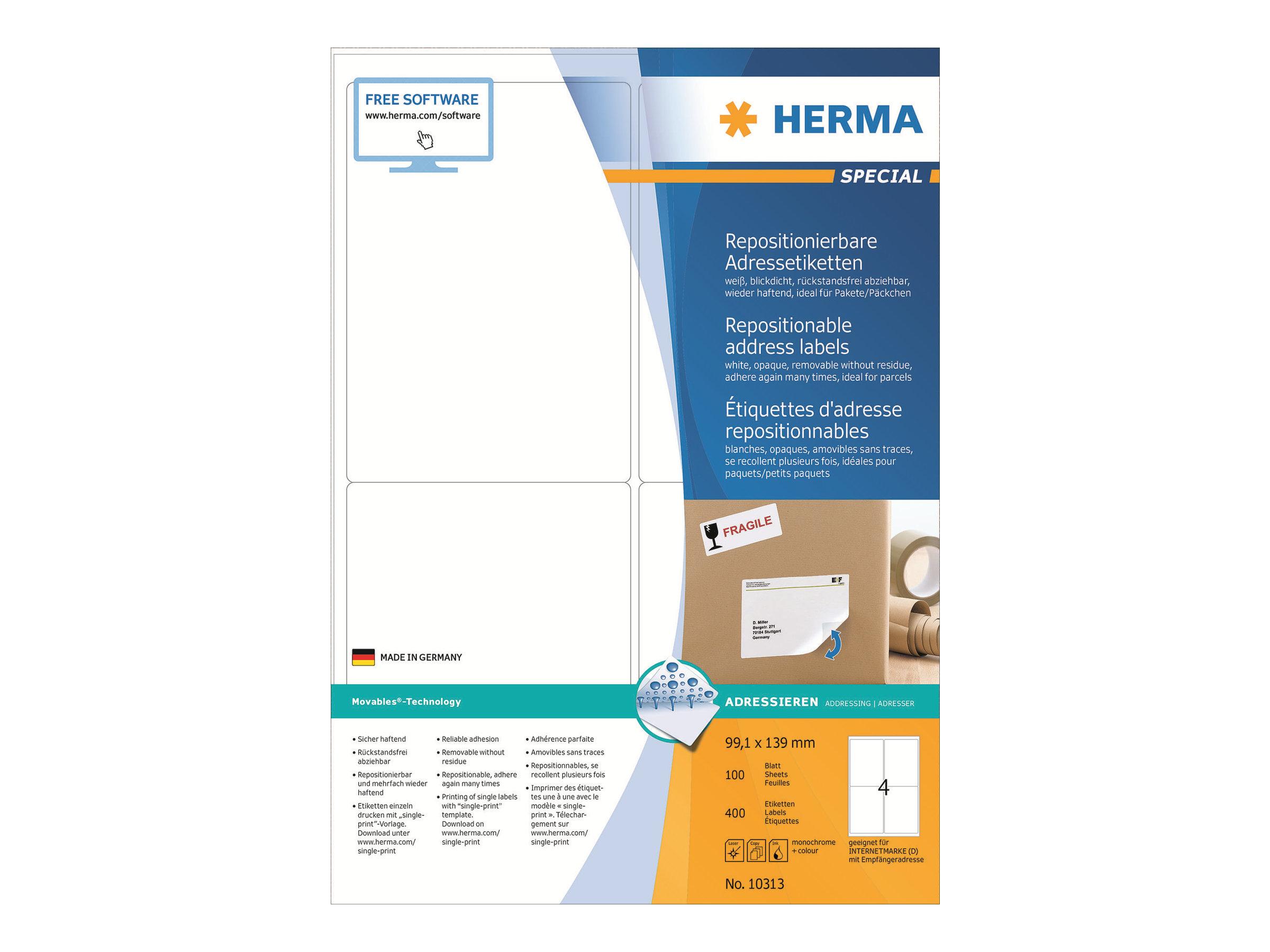 HERMA Special - Papier - matt - selbstklebend, neu positionierbar - weiß - 99.1 x 139 mm 400 Etikett(en) (100 Bogen x 4)